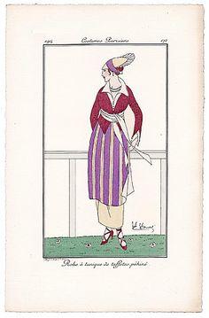 HONORE 1914 Journal des Dames et des Modes Costumes Parisiens Pochoir N°172