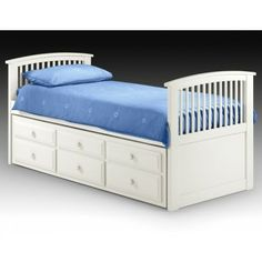 It's a classically good looking piece of furniture which fits in pefectly with the Cameo range of furniture. There is a pull out guest bed underneath to provide space for sleepovers as well as 3 handy drawers to increase the storage space of your room.