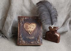 Rustic wedding guest book Wedding Guest book set guest book Pen holder ostrich feather pen