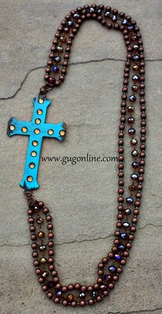 Turquoise Painted Bronze Metal Cross on Rust and Crystal Chain Necklace $36.95 www.gugonline.com