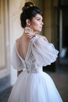 Puffy Wedding Dresses, Lace Wedding Dress With Sleeves, Princess Wedding Dresses, Elegant Wedding Dress, Wedding Dress Styles, Dream Wedding Dresses, Bridal Dresses, Dress Lace, Sleeved Wedding Dresses