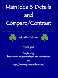 Main Idea / Details Sort and Compare / Contrast for March product from MaggieSLP on TeachersNotebook.com
