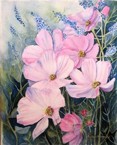 Pink Cosmos Flower Painting Art Print of by BarbaraRosenzweig, $52.00
