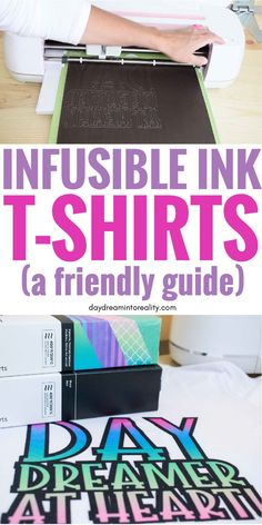 Learn how to maker T-Shirts with Cricut Infusible Ink! A complete guide you won't find anywhere else! Hi Daydreamers! Today you are going to learn how to make beautiful T-Shirts with Cricut Cricut Air 2, Cricut Help, Cricut Vinyl, Proyectos Cricut Explore, Diy Screen Printing, Ink Transfer, Cricut Craft Room, Craft Rooms, Cricut Tutorials