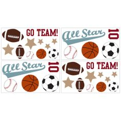 Sweet JoJo Designs All Star Sports Wall Decal Stickers | Overstock.com Shopping - The Best Deals on Wall Decor