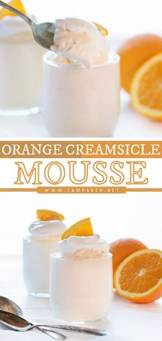 This dreamy Orange Creamsicle Mousse is an easy Easter dessert recipe that is simple to put together and always a crowd pleaser! These little dessert cups are light and fresh and absolutely perfect for Easter! Pin this easy dessert idea! Fancy Desserts, Sweet Desserts, Elegant Desserts, Desserts For A Crowd, Beautiful Desserts, Healthy Desserts, Mousse Dessert, Dessert Cups, Fruit Dessert