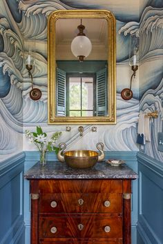 Blue Powder Rooms, Interior Design Portfolios, Dream Bathrooms, Double Vanity, Master Bathroom, Small Spaces, New Homes, House Styles, Home Decor