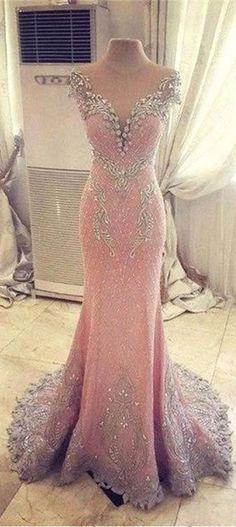 Crystal Pink Mermaid Long Evening Dress From 27dress.com. #pink #onlineshopping #fashion #promdress #eveningdress #partydress
