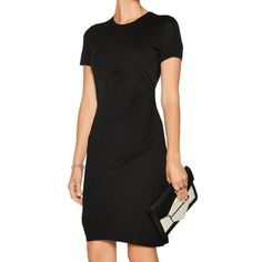 """A.L.C. """"Amy"""" gathered mini dress: MSRP $300 Beautiful, classy and super comfy. This short sleeved viscose Jersey dress by ALC is a perfect LBD. Crew neck, side gathered fabric at waist and falls above knee. Tagged a S but is a true XS (28"""" bust, 26"""" waist) Worn 1x to a museum. trade value $100 A.L.C. Dresses Mini"""