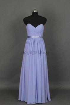 Lavender Twist Ruched Long Chiffon Bridesmaid Dress