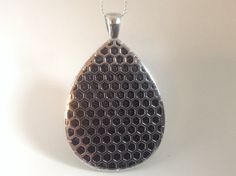 """Fitbit One pendant / necklace - Teardrop """"Honeycomb"""" Silver tone with black leather"""