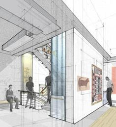American Folk Art Museum (print hidden line in Revit, draw on top by hand, add people, color and images in photoshop)