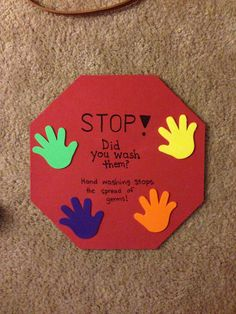 Hand washing sign activity - students can each decorate one to hang up at home for a visual reminder. Health Activities, Preschool Activities, Body Preschool, Creative Activities, Hand Washing Poster, Hand Washing Song, Nurse Office, Daycare Crafts, Kid Crafts