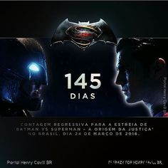 Nossa contagem regressiva para #BatmanVsSuperman começou! 24 de Março de 2016 nos cinemas! @henrycavill  #BvS #145dias #henrycavill #superman #ManofSteel #supermanvbatman #benaffleck #galgabot #zacsnyder #batman #wonderwoman #warner