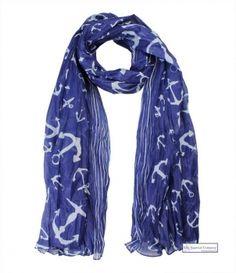 #Nautical #Anchor Print #Scarf, blue with white anchors - summer is calling :-) #fashion