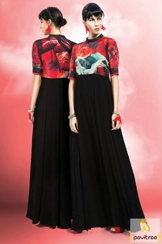 Amazing digital printed crepe and georgette black and red color long sleeve printed maxi dress with cheapest cost. Purchase evening dresses for Indian women.   # long indian style gown for party #long indian style maxi dress with price #party wear printed gown #latest party wear indian maxi dress More: http://www.pavitraa.in/catalogs/digital-printed-long-gown-dresses/?utm_source=hp&utm_medium=pinterestpost&utm_campaign=18july