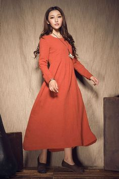ON SALE. Oversize Loose Casual Dress Pleated Linen Dress in