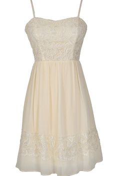 Best Days Ahead Lace and Chiffon Dress in Cream  www.lilyboutique.com
