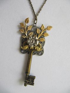 Steampunk Necklace, Steampunk Jewelry,Filagree, Large Key, Leaves, rhinestone, Womens Necklace on Etsy, $32.00