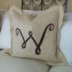 Painted burlap pillow with down insert