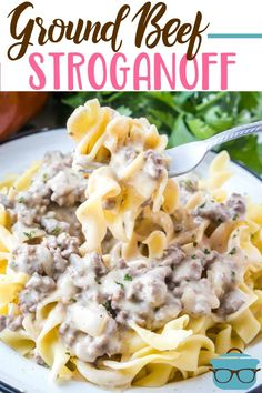 This is the best Ground Beef Stroganoff. It's a flavor-filled creamy hamburger g… This is the best Ground Beef Stroganoff. It's a flavor-filled creamy hamburger gravy that is best served over egg noodles. Recipe For Beef Stroganoff, Hamburger Stroganoff, Ground Turkey Stroganoff, Healthy Beef Stroganoff, Beef Stroganoff Cream Cheese, Crock Pot Stroganoff, Ground Beef Recipes For Dinner, Sour Cream Recipes Dinner, Pasta