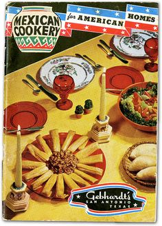 "Gebhardt cookbooks describe the recipes as ""real"" Mexican cooking, but it's unlikely that Mexicans would recognize many of the dishes. Recipes include piquant deviled eggs, hominy and chili scramble, and beans in tomato cups #utsalibraries #gebhardt #tamales #mexicancookery #mexicanfood lib.utsa.edu/gebhardt"