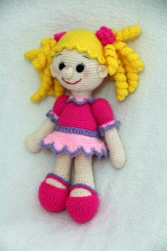 Knitted soft toy Doll for kids. Secure with plastic joints. Doll with curls. In a purple dress. Handmade Soft toy   Here is an adorable hand knit doll in a pink suit. This ... #etsypromoteam