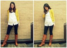 my outfit today my brown zip-up jingle boots my blue leggings ,long white H&M tank Yellowcardigan, blue wood necklace comfy cute for crisp morning photo shoot