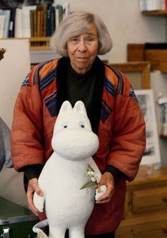 Tove with Moomin in her ateljee