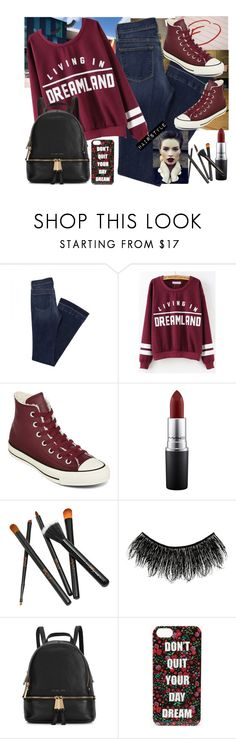 """""""School"""" by rebel-289 ❤ liked on Polyvore featuring Mason's, Converse, MAC Cosmetics, Illamasqua, Michael Kors and Forever 21"""