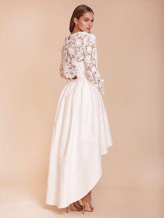 Lowen Crochet Top, Long Sleeve Lace Top, Bridal topper, Lace Crop Top, 3D Lace, Applique Lace, Layering Top, Bridesmaid Top, White Lace Top, Boho Bridesmaid, Boho Bride