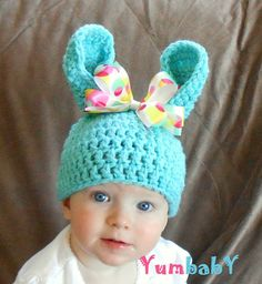 Baby Easter Bunny Hat Pastel Blue Easter Bunny Multicolor Polka Dot Bow Baby Girl $19.95. So cute!