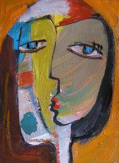 Large oil Painting Modern Original Art  Abstract Portrait P-136