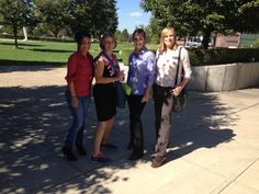 Staff taking a lunchtime walk to log Miracle Marathon miles.  From left to right: Ana, Member Service Rep at our downtown branch; Helen, VP of Marketing & Education; Rachael, Marketing Coordinator; and Marla, Organizational Trainer