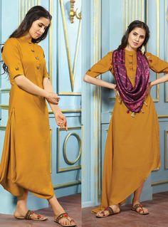 Mustard Rayon Designer Readymade Kurti 124848