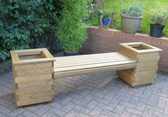 Garden Patio Planter Bench Timber Outdoor Seat Plants Yard Wood Flower Furniture