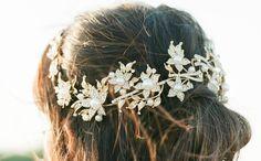 Gold Bridal Headpiece, AGNES Bridal Leaf Headpiece, Pearl Bridal Headpiece, Gold Leaf Halo, Gold Bridal Pearl Headpiece, Bridal Halo Tiara