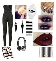 """""""Black or White? { i chose both }"""" by queenawesome-mykee ❤ liked on Polyvore featuring Antonio Berardi, Valentino, adidas, Oasis, Henri Bendel, Kate Spade, Beats by Dr. Dre, women's clothing, women and female"""