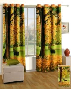 """Swayam Curtain Concept Printed Premium Cosmo Fashion Window Curtains - 48""""x60"""", Multicolor (LCW-1111-Park)"""