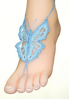 This is a BUTTERFLY barefoot sandals crochet pattern to wear on the beach, pool, at home, at weddings party, festivals or at yoga class. Crochet Shoes, Crochet Slippers, Crochet Sandals Pattern, Baby Schmuck, Barefoot Sandals Pattern, Crochet Thread Size 10, Anklet Designs, Butterfly Pattern, Crochet Patterns For Beginners