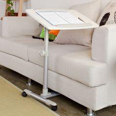 Table de lit pour ordinateur portable avec plateau inclinable à hauteur assistée- Blanc, FBT07N2-W: Amazon.fr: Cuisine & Maison