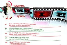Do you party guests know their Christmas movies? Then they should be able to name the correct movie for each quote.