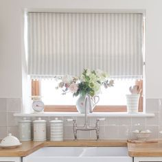 Country Blind Inspiration - Sea/Ivory Cambridge Stripe Blinds - creating the perfect laid back kitchen, perfect with ivory pom pom trim. Susie Watson Designs https://www.susiewatsondesigns.co.uk/sea-ivory-cambridge-stripe-308.html