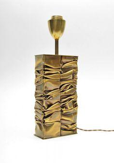 Fine crumpled brass lamp by S. Moniquet; c. 1970 (Key Word Search: French, Chervet, Maison Bagues, Mategot, Royere, Duval-Brasseur, Adnet, Poillerat, brutalist, Paul Evans)  Dimensions: 15h, 5.25w, 2.75d