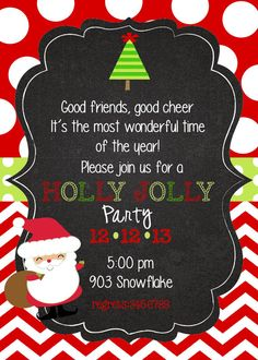 Christmas Party InvitationSanta Holly Jolly Party by stickerchic, $9.50