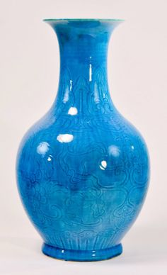 "Chinese Peacock Blue Porcelain Vase floral vine motif, drilled for lamp, 19th cen, 9""dia 16""h"