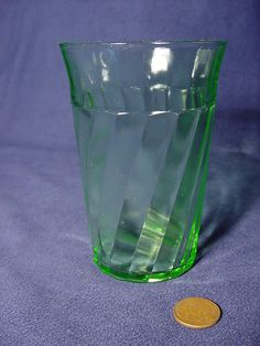 Vintage Green Depression Glass Counter Clockwise Spiral Twist Tumbler. Click on the image for more information.