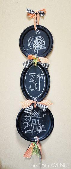 Dollar Store Platters + Chalkboard paint + ribbons + chalk = Easy Halloween Decor