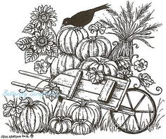 Pumpkin Coloring Pages for Adults Best Of Pumpkin Wheelbarrow & Crow Wood Mounted Rubber Stamp Pumpkin Coloring Pages, Fall Coloring Pages, Free Coloring, Adult Coloring Pages, Coloring Sheets, Coloring Books, Wood Burning Patterns, Autumn Art, Fall Cards