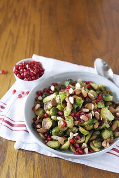 Roasted Brussels Sprouts with Pomegranate and Almonds   BourbonandHoney.com